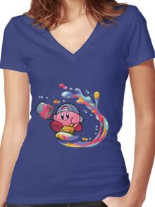 Painting Kirby Women's Fitted V-Neck T-Shirt