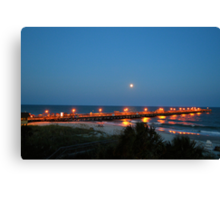 Full Moon At The Pier Canvas Print