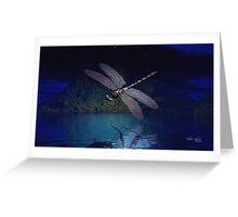 Dragonfly Reflections at Night Greeting Card