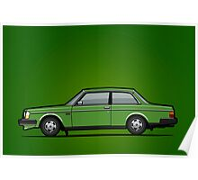 Volvo 242 Brick Coupe 200 Series Green Poster