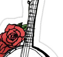 Hipster Banjo & Roses Sticker