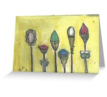 And Pretty HatPins All In A Row.. Greeting Card