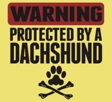 Warning Protected By A Dachshund Kids Tee