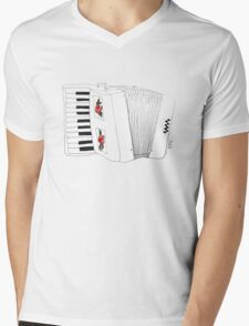 Accordion & Roses Mens V-Neck T-Shirt