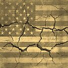 Vintage American Flag on Cracked Wall  by Nhan Ngo