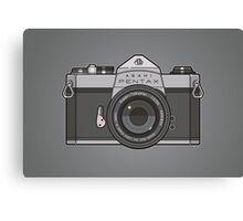 Asahi Pentax 35mm Analog SLR Camera Line Art Graphic Gray Canvas Print