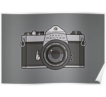 Asahi Pentax 35mm Analog SLR Camera Line Art Graphic Gray Poster
