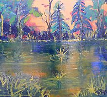 POND IN THE WOODLANDS by RHAREart