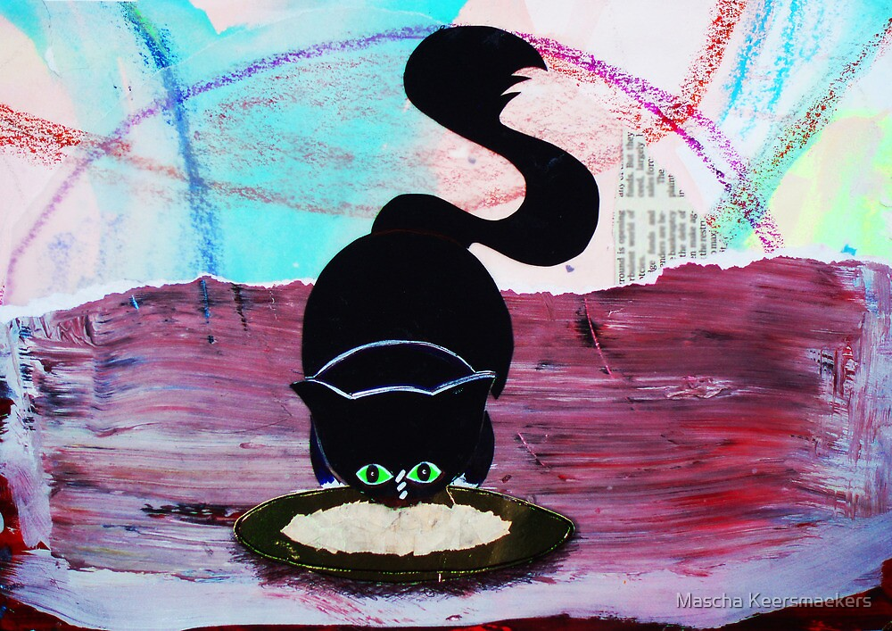 """Nina the little black panther - """"dinnertime"""" by Mascha Keersmaekers"""