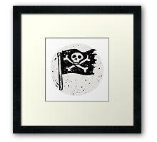 Kid Pirate skull on da moon Framed Print