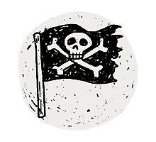 Kid Pirate skull on da moon Photographic Print