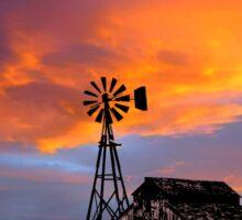 Sunset Barn and Windmill Sticker