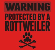Warning Protected By A Rottweiler One Piece - Long Sleeve
