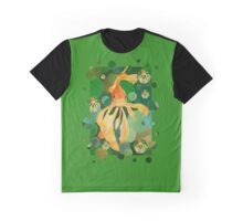Vermilion Goldfish Swimming In Green Sea of Bubbles Graphic T-Shirt
