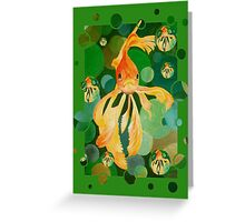 Vermilion Goldfish Swimming In Green Sea of Bubbles Greeting Card