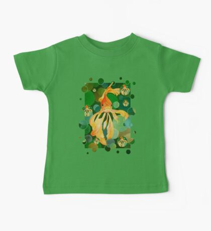 Vermilion Goldfish Swimming In Green Sea of Bubbles Baby Tee