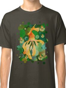 Vermilion Goldfish Swimming In Green Sea of Bubbles Classic T-Shirt