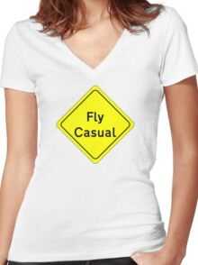 Fly Casual Sign Women's Fitted V-Neck T-Shirt