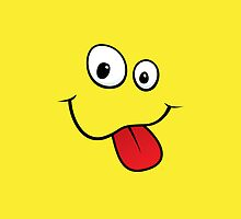 Silly teasing smiley face sticking out tongue yellow iPhone case by Mhea