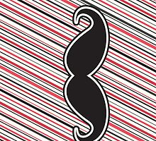 Retro black mustache on red gray stripes by Mhea