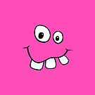 Silly, goofy smiley face with big teeth hot pink iPhone case by Mhea