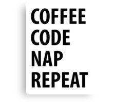 Coffee Code Nap Repeat Canvas Print