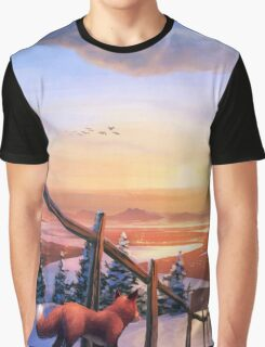 Red Fox's Wintry Sunrise Graphic T-Shirt