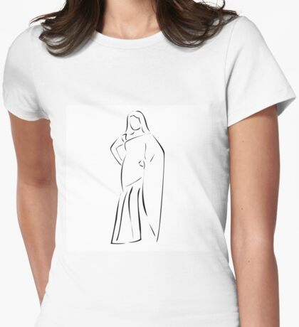 Asian girl wearing sari  Womens Fitted T-Shirt