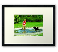 zack and the dog in a puddle Framed Print