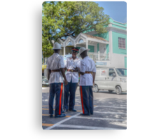 Police Officers on Bay Street in Downtown Nassau, The Bahamas Metal Print