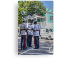 Police Officers on Bay Street in Downtown Nassau, The Bahamas Canvas Print