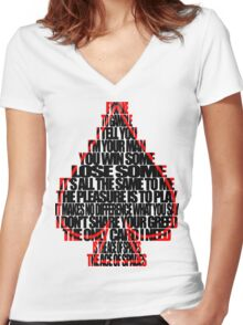 Ace Of Spades - Black and Red Women's Fitted V-Neck T-Shirt