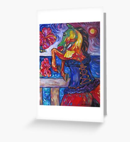 Horse in Blue Corset Greeting Card
