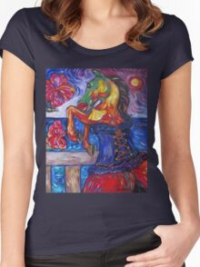 Horse in Blue Corset Women's Fitted Scoop T-Shirt