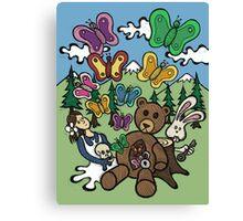 Teddy Bear And Bunny - Nervous Canvas Print