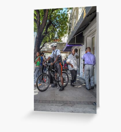 Daily Life on Bay Street in Downtown Nassau, The Bahamas Greeting Card