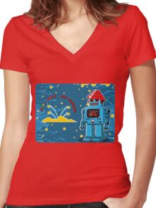 DEVO Bots 008 Women's Fitted V-Neck T-Shirt