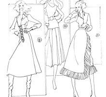 """Helga's Fashion Mannequins Series Poster 3 Fringe Skirt""© by HelgaFCrosby"