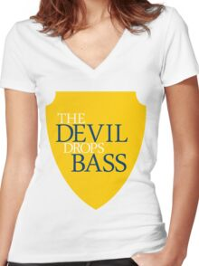 The Devil Drops Bass Women's Fitted V-Neck T-Shirt