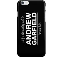 "Andrew Garfield - ""If I Die"" Series (White) iPhone Case/Skin"