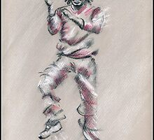 Chris Gayle - sketch drawing by Paulette Farrell