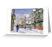 An Edwardian winter scene in Oxford. Greeting Card