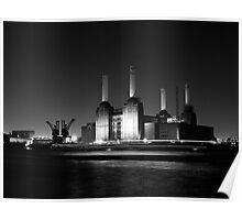 Battersea Power Station at Night Poster