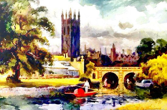 Magdalen Tower (1509) & Bridge (1778) Oxford in Autumn by Dennis Melling