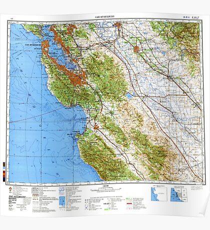 Soviet Map of San Francisco Bay Area Poster