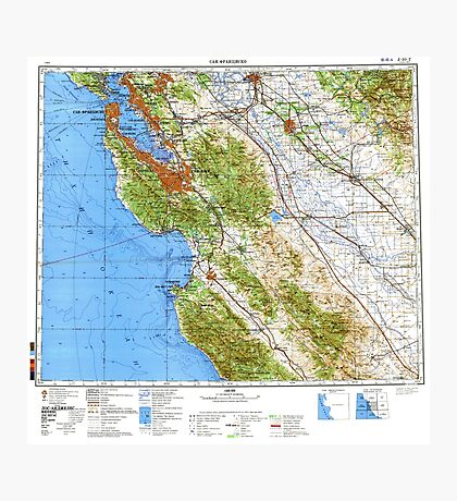 Soviet Map of San Francisco Bay Area Photographic Print