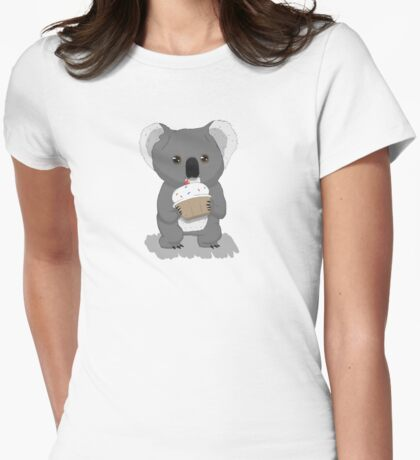 Koala and Cupcake Womens Fitted T-Shirt