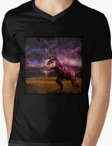 Carnotaurus and UFO Mens V-Neck T-Shirt