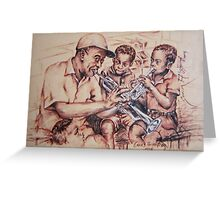 Louis Armstrong and children/jazz Greeting Card
