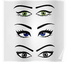Different types of womens eyes Poster